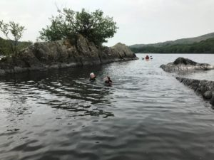 Swimming during a Lake District Canoeing session