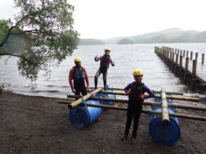 Family Raft Building on Coniston