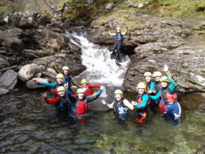 Smiley Hen Party Gorge Walking in the Lake District