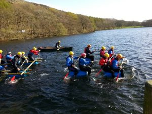 Raft Building team activity in the Lake District